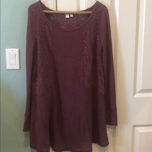 Anthropologie Purple Lace Mini Sweater Dress